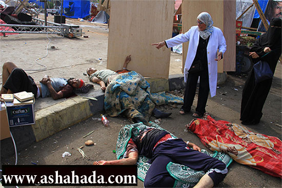 بالفيديو ... جثث الشهداء في مسجد الإيمان