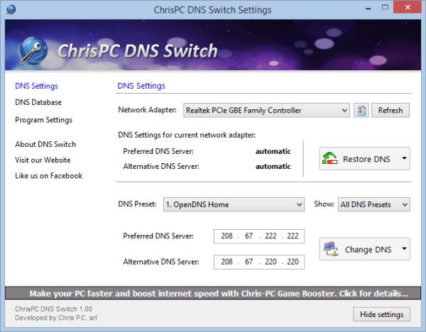 برنامج ChrisPC DNS Switch لتغيير ال DNS