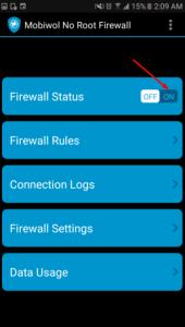 من إستهلاك هاتفك للإنترنت انه Mobiwol NoRoot Firewall
