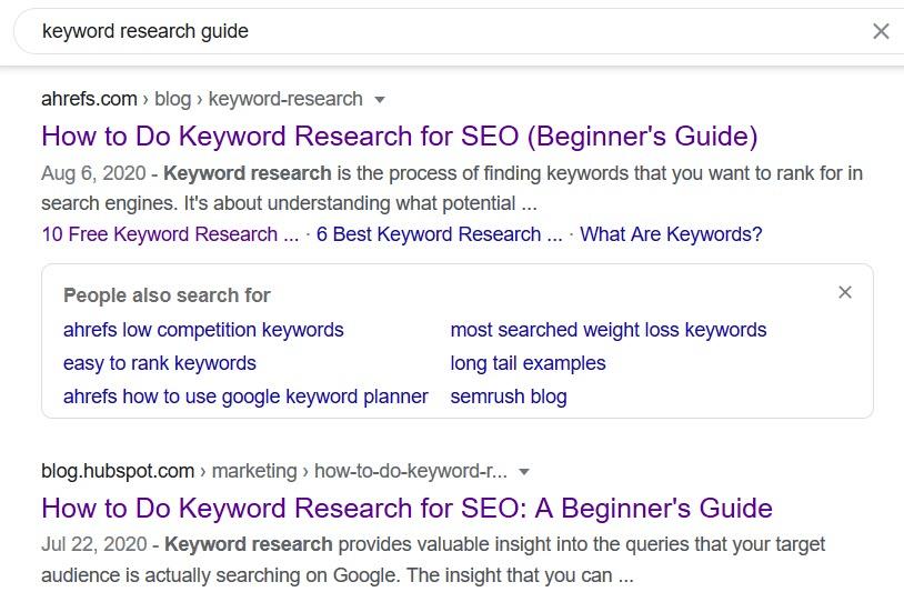 ولكن تجاوز تحديثات صفحات الويب ، يمكن أن يكون التلاعب بالتاريخ طريقة فعالة لجذب بعض الانتباه على SERP.  أسهل مثال: شخص ما يبحث عن أدلة بحث عن الكلمات الرئيسية.  لقد صادفوا هذا النوع من SERP.